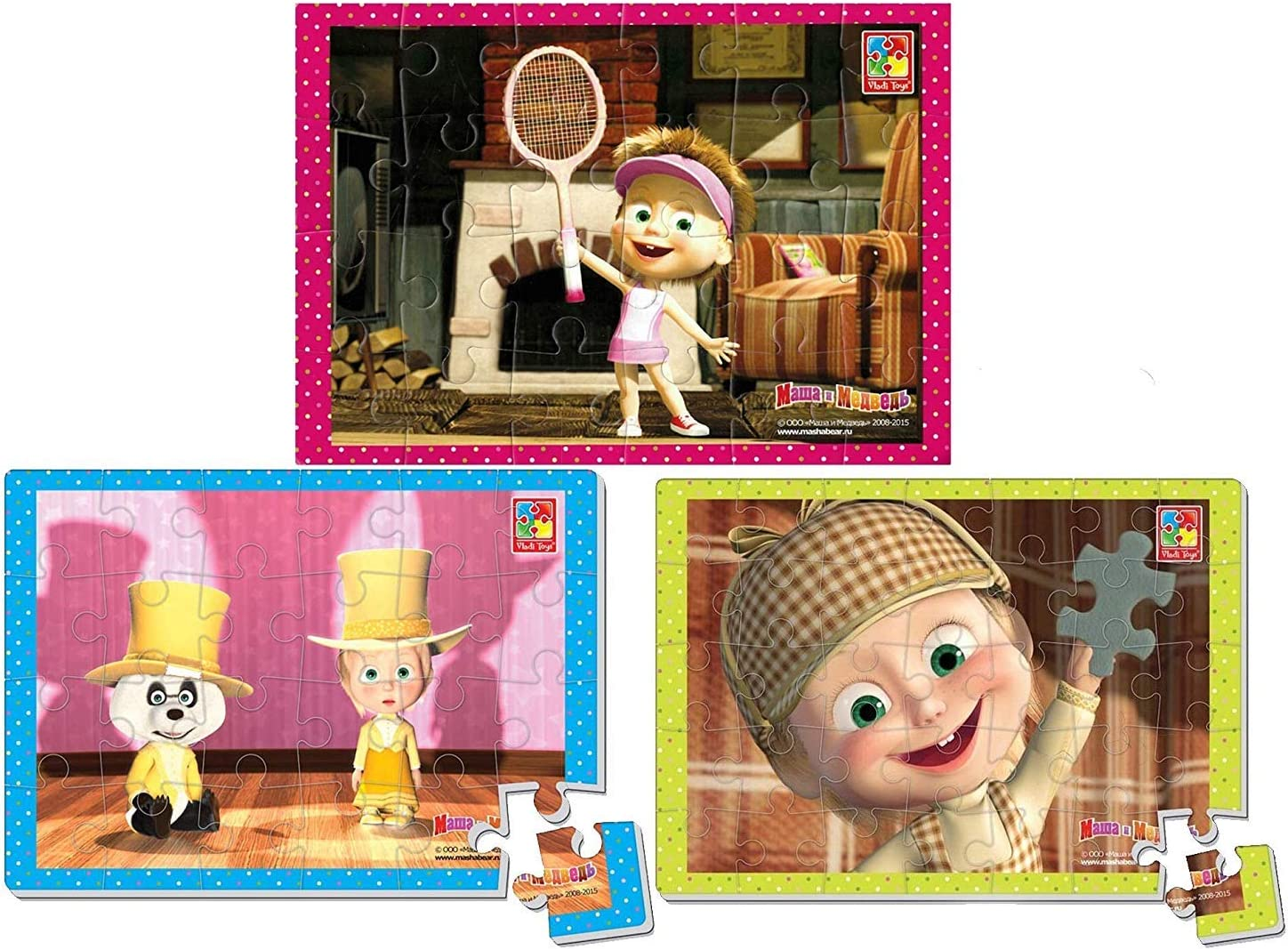Developing puzzle game Masha and the Bear 4 parts wood