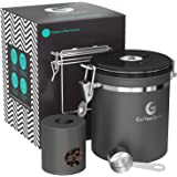 Coffee Gator Stainless Steel Container - Canister with co2 Valve, Scoop, and Travel Jar (Medium, Gray)