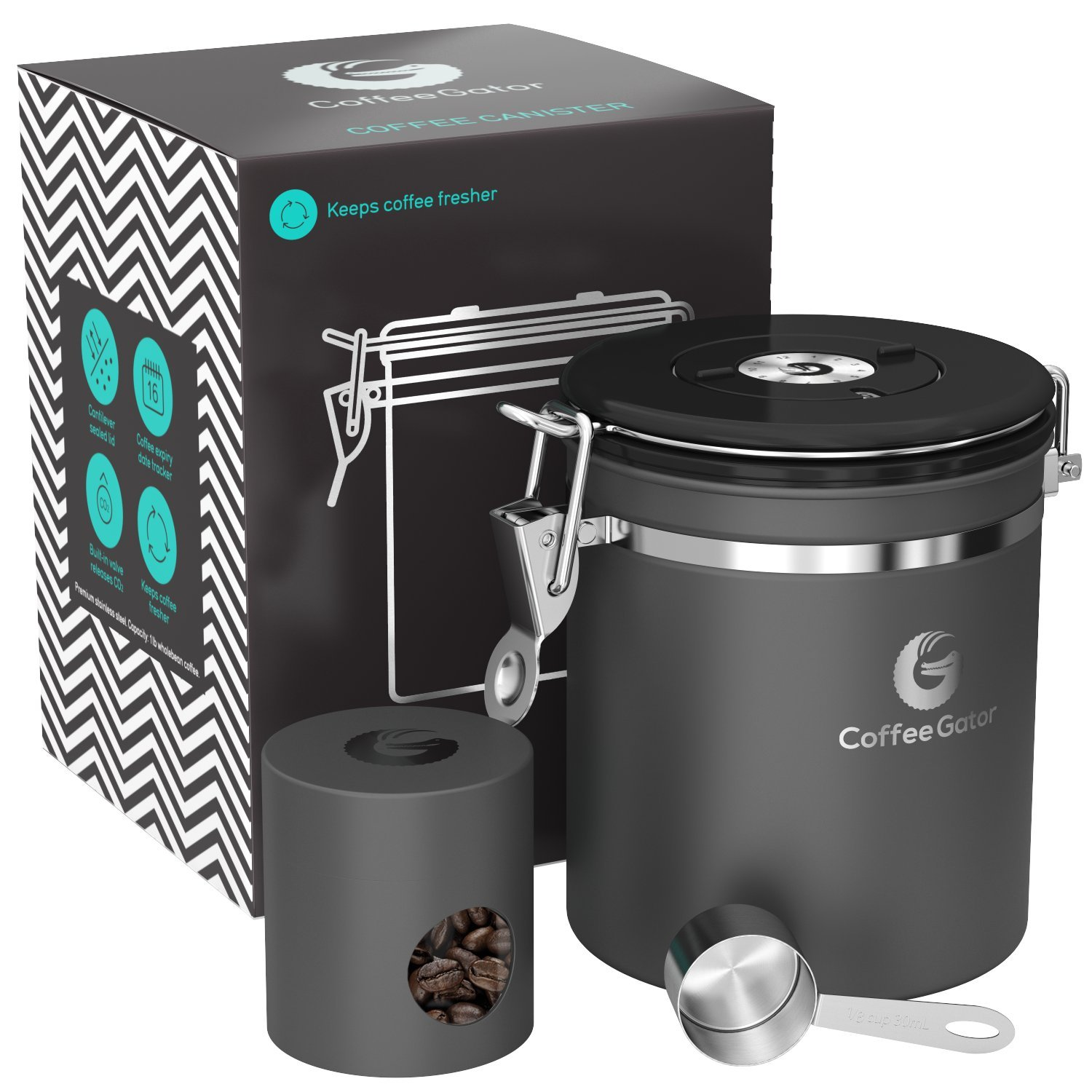 Coffee Gator Stainless Steel Container - Canister with co2 Valve, Scoop and Travel Jar - Medium, Grey