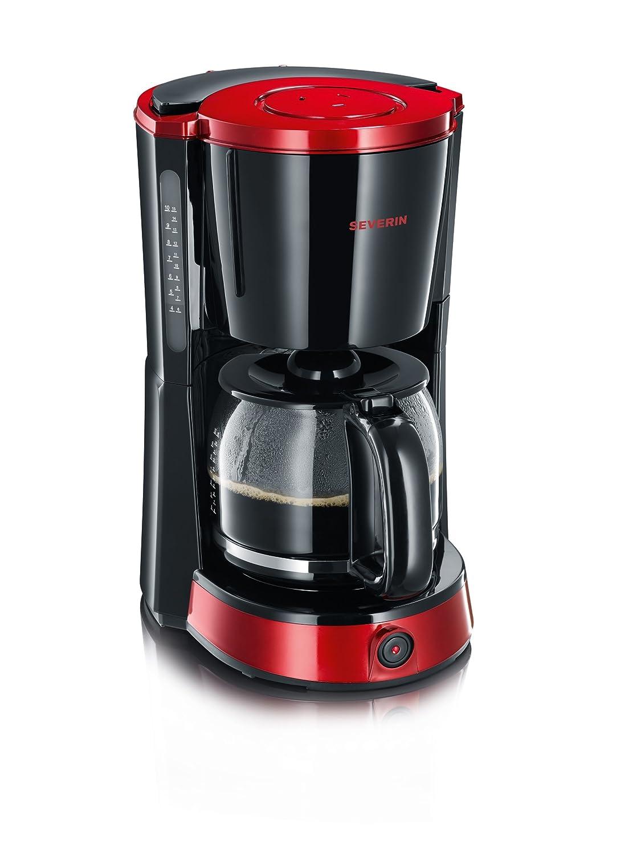 SEVERIN KA 4492 Cafetera Selectpara filtros de Café Molido, 10 tazas incluye jarra de cristal negro/rojo/metálico