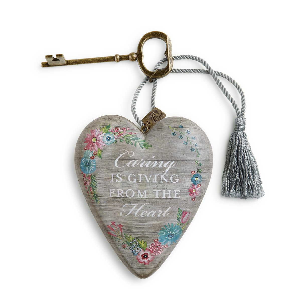 2dc38f6f9440 Amazon.com  DEMDACO Caring is Giving Weathered Floral 4 x 3 Heart Shaped  Resin Keepsake Decoration  Home   Kitchen