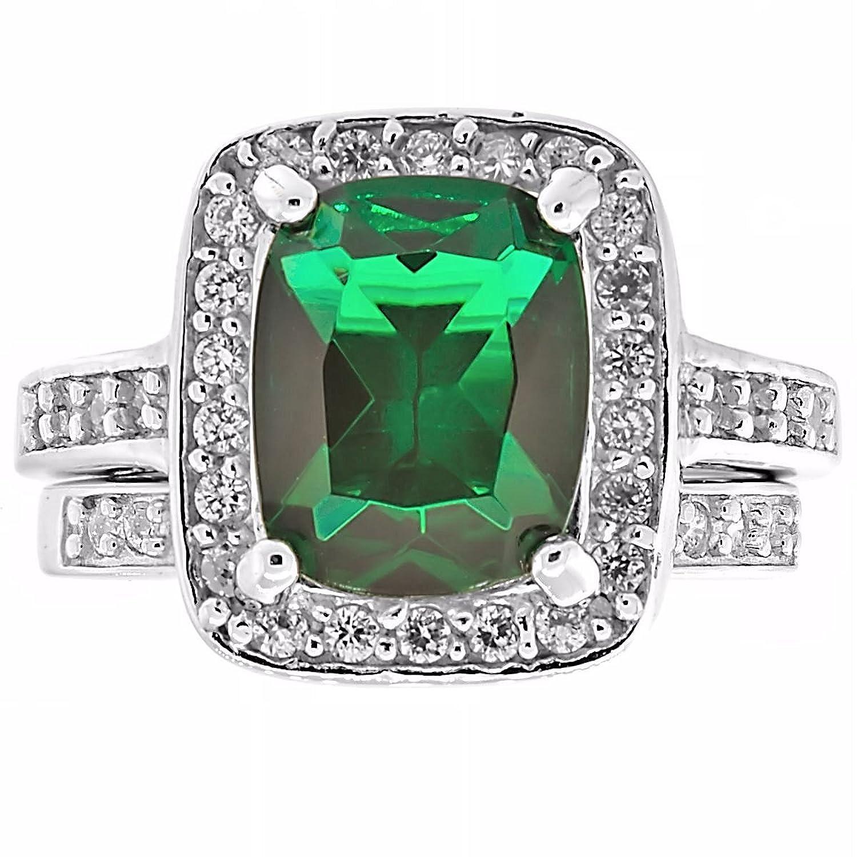 Esadowa: 3.4ct Simulated Emerald Solitaire & IOF CZ 2 pc Wedding Ring Set 925 Silver, 3219B