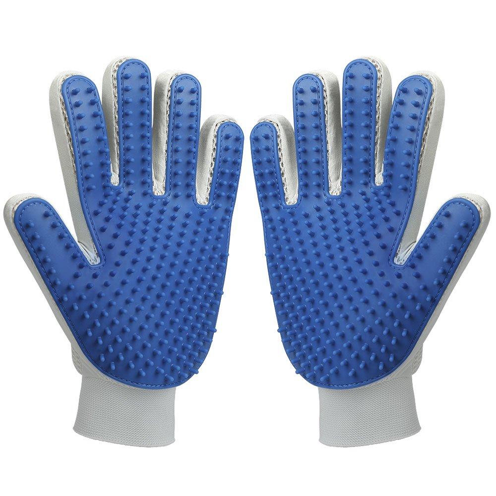 MUDEELA Pet Hair Remover Glove, Magic Pet Grooming Glove Brush, Efficient Deshedding Mitt for Dogs Cats Horses, Long and Short Fur (One Pair)