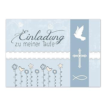 15 X Einladung Zur Taufe Einladungskarten Mit Umschlag Im Set Motiv Einladung Zu Meiner Taufe Vintage Blau Baby Taufkarte Grußkarte