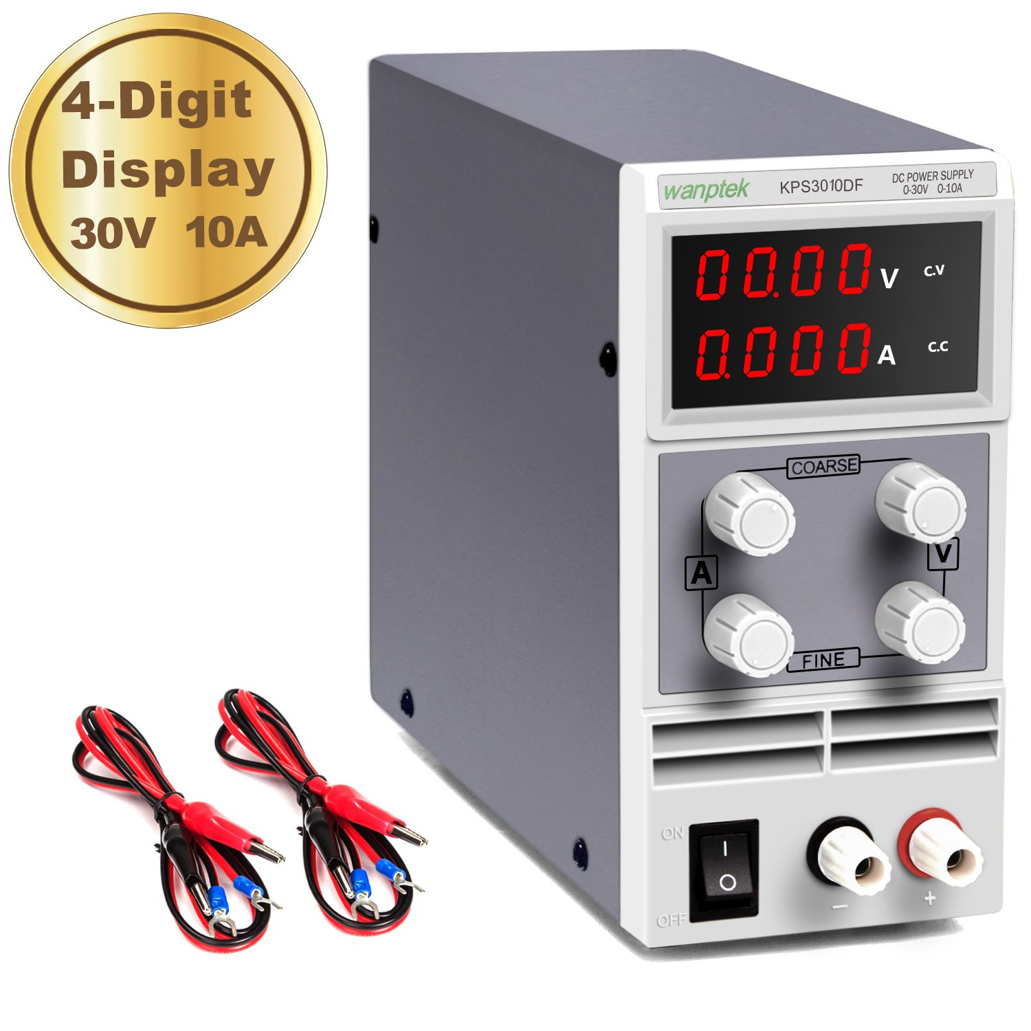 DC Power Supply Variable 30V 10A 4-Digit LED Display [Upgraded Version] Precision Adjustable DC Bench Power Supply DC Regulated Power Supply with 2 Alligator Clip Leads