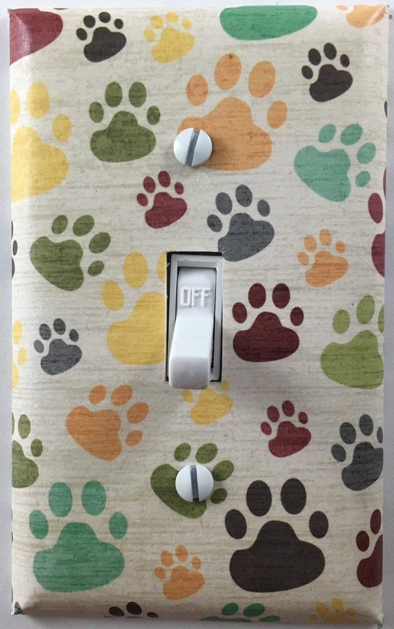 Multi Colored Dog Cat Paws Decorative Light Switch Cover Wall Plate