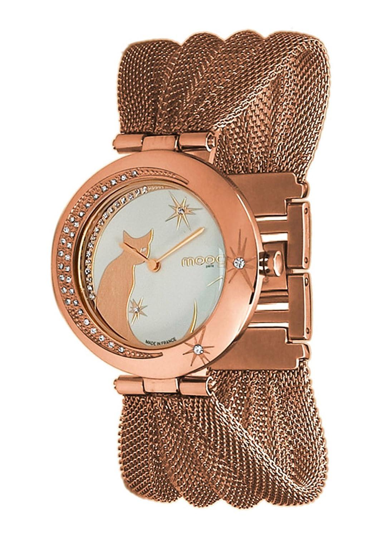 Moog Paris - Lucille - Damen Armbanduhr - weiß Ziffernblatt - Armband Rosegold aus Edelstahl - Katz Armbenduhr -