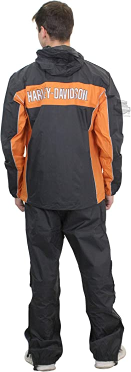 Harley-Davidson Men's Generations Reflective Waterproof Black Rain Suit