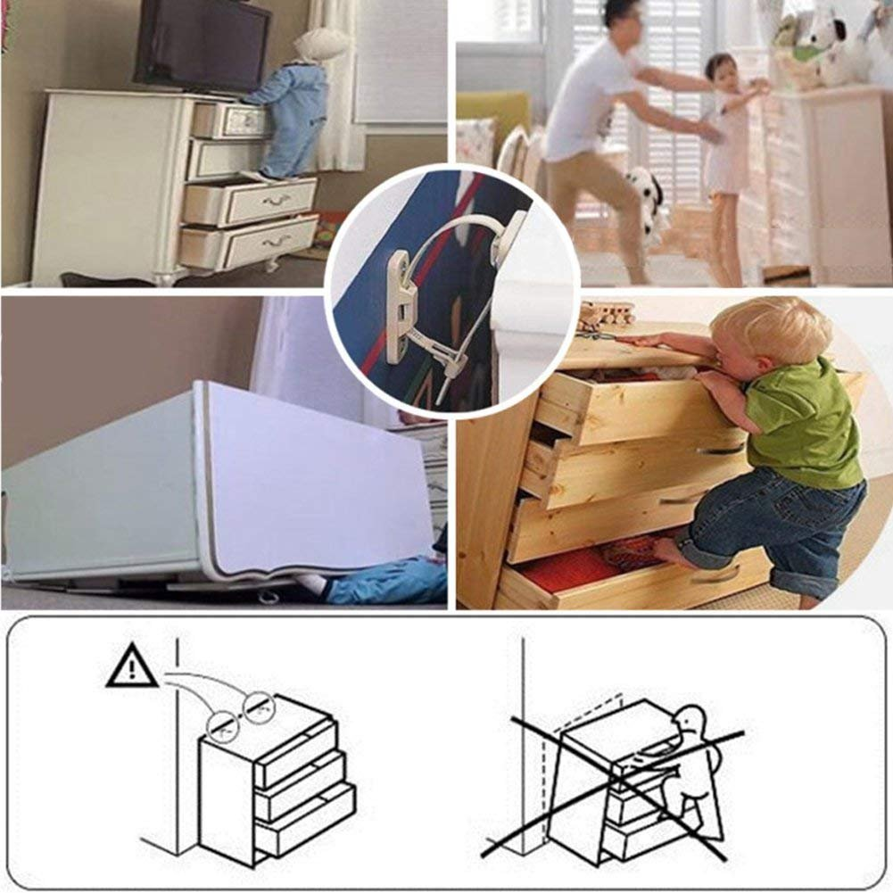 Loghot 6 Sets Nylon Anti-Tip Furniture Anchor Straps White Attach Furniture to Wall Keeping Baby Pet Safety from Falling Furniture