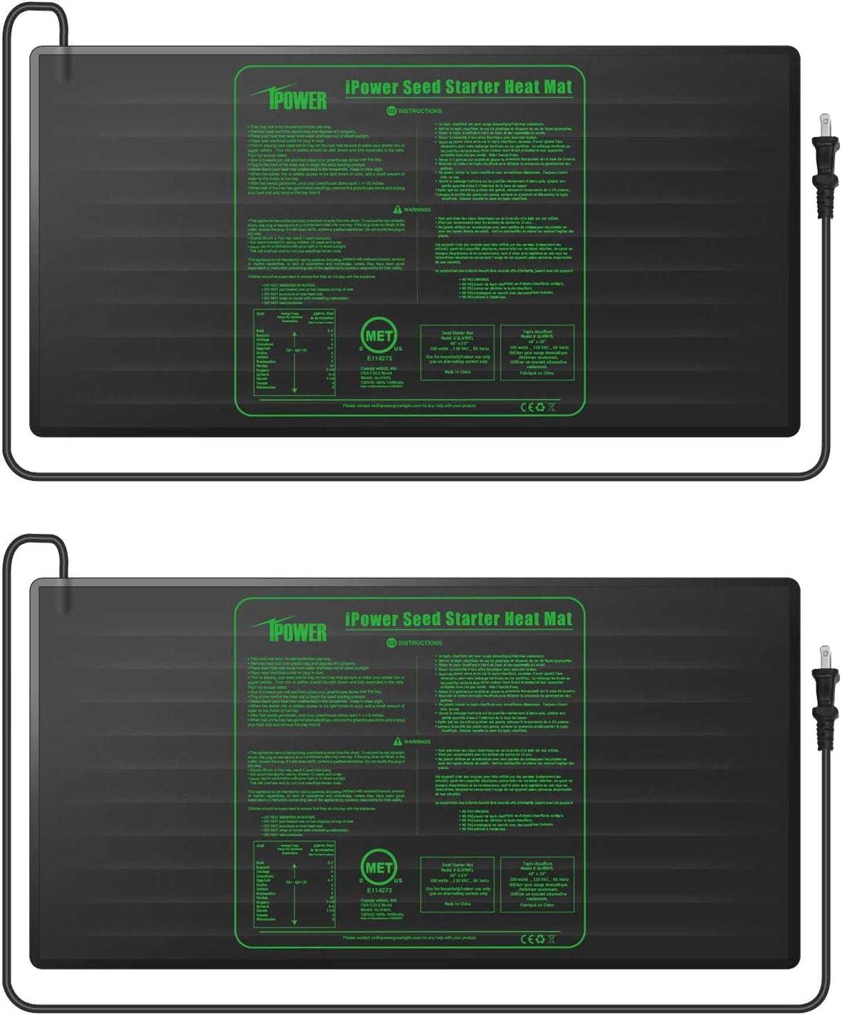 iPower GLHTMTLX2 2-Pack Durable Waterproof Seedling Mat 48 x 20 Warm Hydroponic Heating Pad, Black