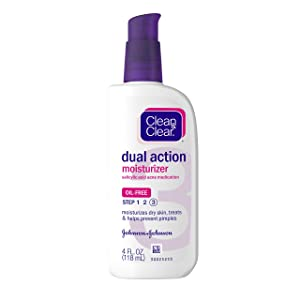 Clean & Clear Essentials Dual Action Facial Moisturizer with Salicylic Acid Acne Medication to Treat Acne and Prevent Pimples, Oil Free Face Moisturizer Cream for Acne-Prone Skin, 4 oz (Pack of 3)