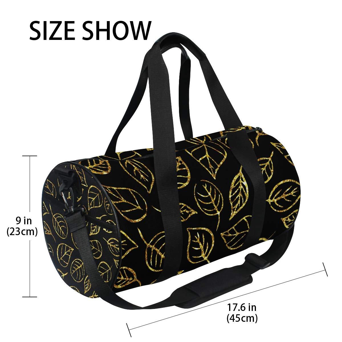 Sports Gym Duffel Barrel Bag Golden Leaves Pattern Travel Luggage Handbag for Men Women
