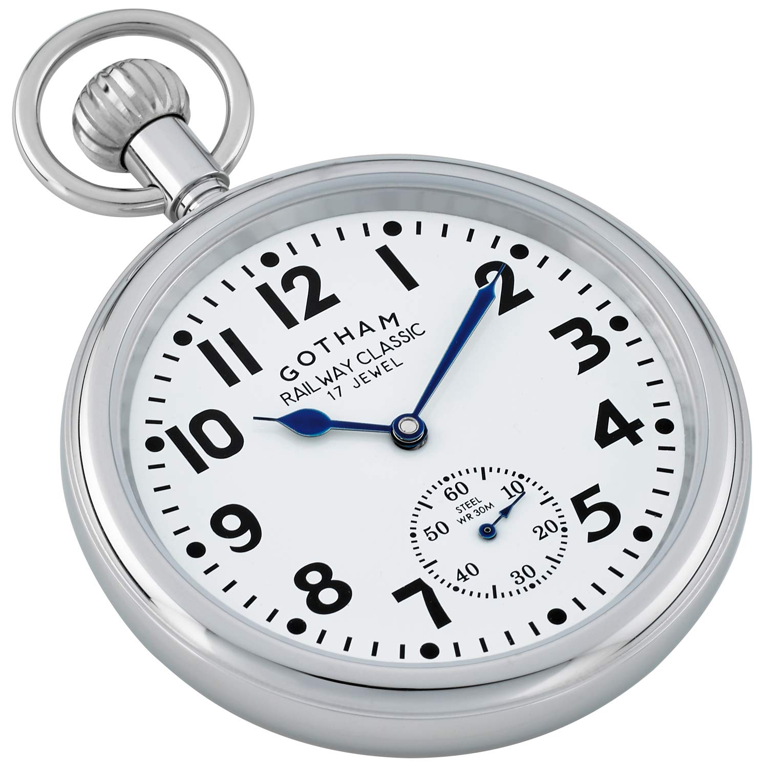 Gotham Men's Stainless Steel Mechanical Hand Wind Railroad Pocket Watch # GWC14104s by Gotham (Image #2)