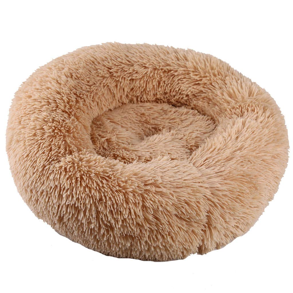 Donut Cat Bed, Faux Fur Dog Beds for Medium Small Dogs - Self Warming Indoor Round Pillow Cuddler