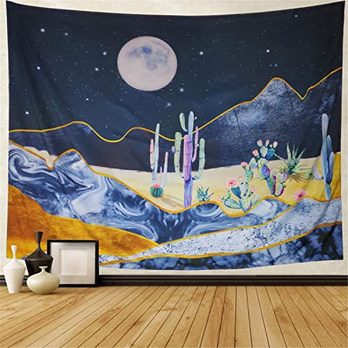 Ameyahud Cactus Tapestry Moon and Cactus Wall Hanging Tapestry Watercolor Psychedelic Mountain Desert Cactus Plant Printed Tapestry for Bedroom Living Room Dorm Room