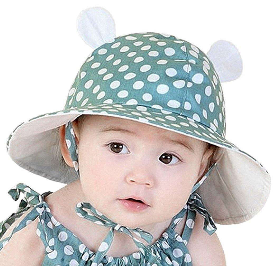359cafe1fe3 La Vogue Newborn Infants Cotton Bucket Cap Polka Beach Ear Hats Green   Amazon.ca  Clothing   Accessories