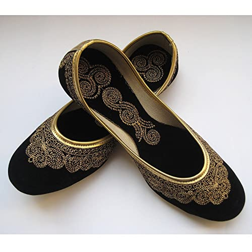 f913d88eef640f Black Flats Gold Shoes Ethnic Shoes Velvet Shoes Handmade Indian Designer  Women Shoes or Slippers Maharaja Style Women  Amazon.co.uk  Handmade