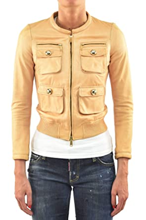 f417cef4486ac6 Amazon.com: DSQUARED2 Jacket Leather Zip Women - Size: 40 - Color ...