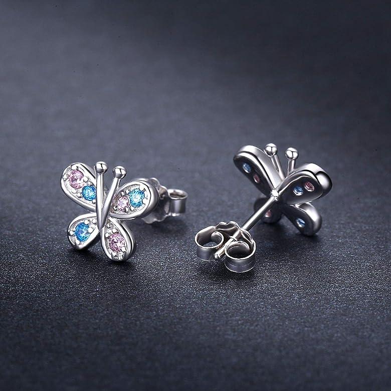 Sterling Silver Jewelry Button Earrings Childrens 9 mm 7 mm Enamel Kids Butterfly Post Earrings