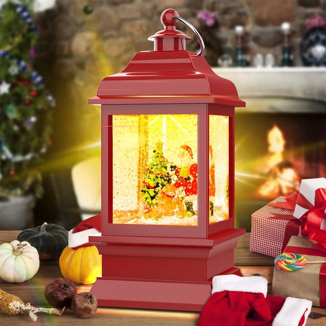 Retro Arch Bridge Frame Candle Night Light Swirling Glittering Snow Globe Lantern Xmas Decorative Lamp Festival Ornament and Gifts Suweor Upo Christmas Lighted Water Lantern
