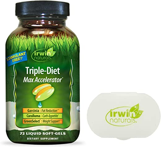 Irwin Naturals Triple-Diet Max Accelerator Healthy Weight Management 72 Liquid Softgels Bundle with a Lumintrail Pill Case