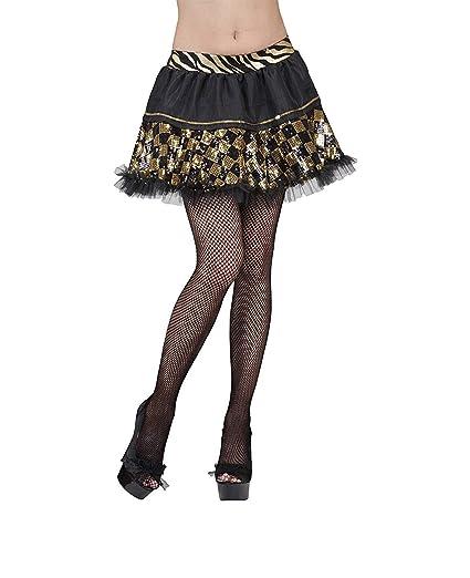 WIDMANN Falda negra cuadrícula dorada mujer - Única: Amazon.es ...