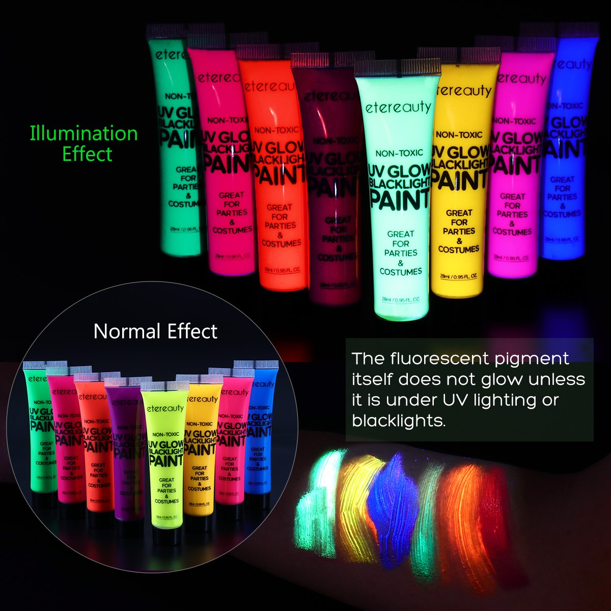 ETEREAUTY UV Glow Blacklight Face and Body Paint 1-oz, Set of 8 Tubes with 6 Brushes and a Mixing Palette by  (Image #2)