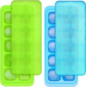 Kootek Ice Cube Trays with Lid, 20-Cube Reusable Ice Cube Molds Food Grade Stackable Plastic Trays Square Mold for Whiskey, Cocktail, Spirits, Chilled Drinks and Juice (2 Pack)