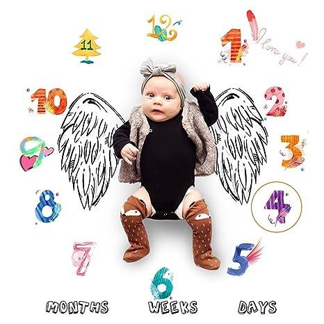 Faylapa Manta de hito mensual para bebé, niña de niño recién nacida, 0-12 días, 0-12 semanas, 0-12 meses Piel de bebé recién nacido, apoyos de ...