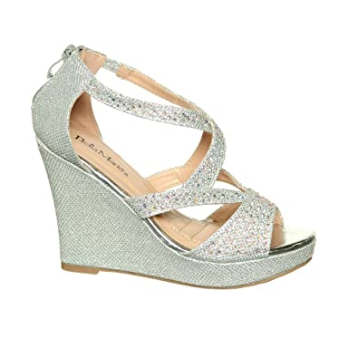 Amazon.com | Women Rhinestone Wedding Bridal Party Platform Wedge ...