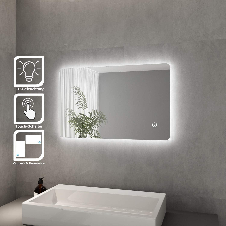Elegant Badspiegel mit LED-Beleuchtung Spiegel kaltweiß Energiesparend LED  Badezimmer Wandspiegel Badezimmerspiegel (Dora 12 x 12 cm)