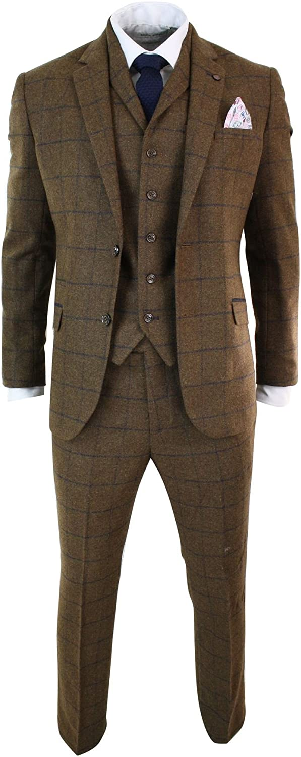 CAVANI Mens Herringbone Tweed Tan Brown Check 3 Piece Wool Suit Peaky Blinders Navy tan-Brown 36
