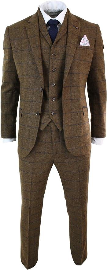 CAVANI Men's Herringbone Tweed Tan Brown Suit