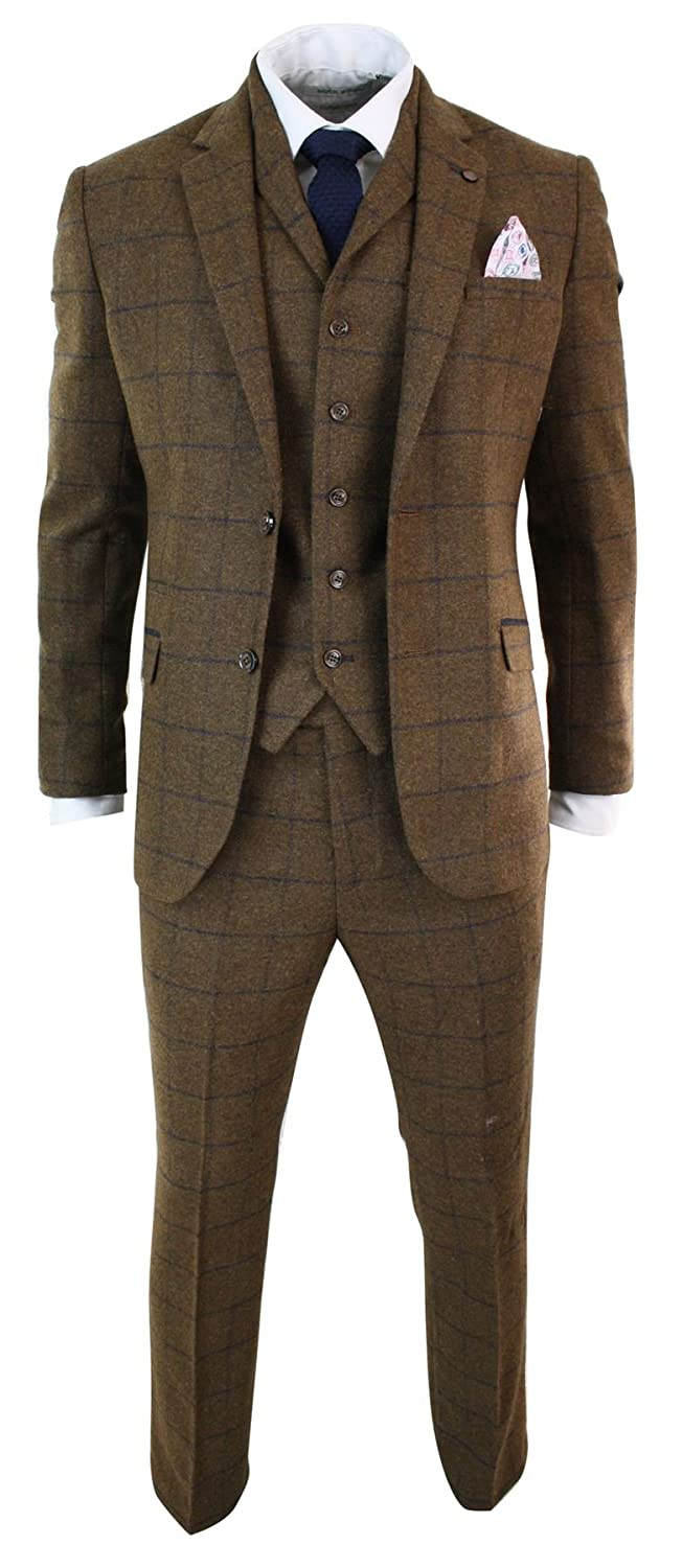 1960s Mens Suits | 70s Mens Disco Suits cavani Mens Herringbone Tweed Tan Brown Check 3 Piece Wool Suit Peaky Blinders Navy tan-brown 36 $149.99 AT vintagedancer.com