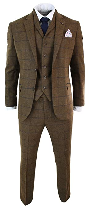 1930s Men's Suits History Cavani Mens Herringbone Tweed Tan Brown Check 3 Piece Wool Suit Peaky Blinders Navy tan-Brown 36 $155.99 AT vintagedancer.com