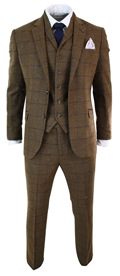 1920s Fashion for Men CAVANI Mens Herringbone Tweed Tan Brown Check 3 Piece Wool Suit Peaky Blinders Navy tan-Brown 36 $207.98 AT vintagedancer.com