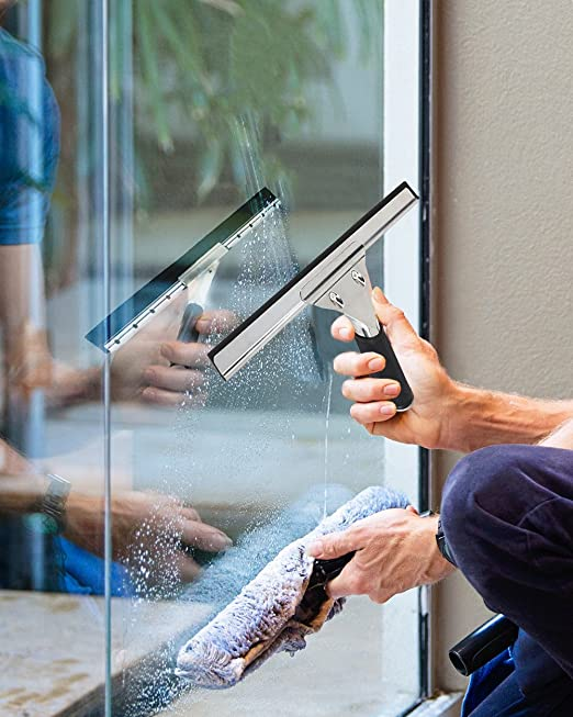 Juvale Window Squeegee Stainless Steel Shower Door Glass Squeegee with Rubber Grip