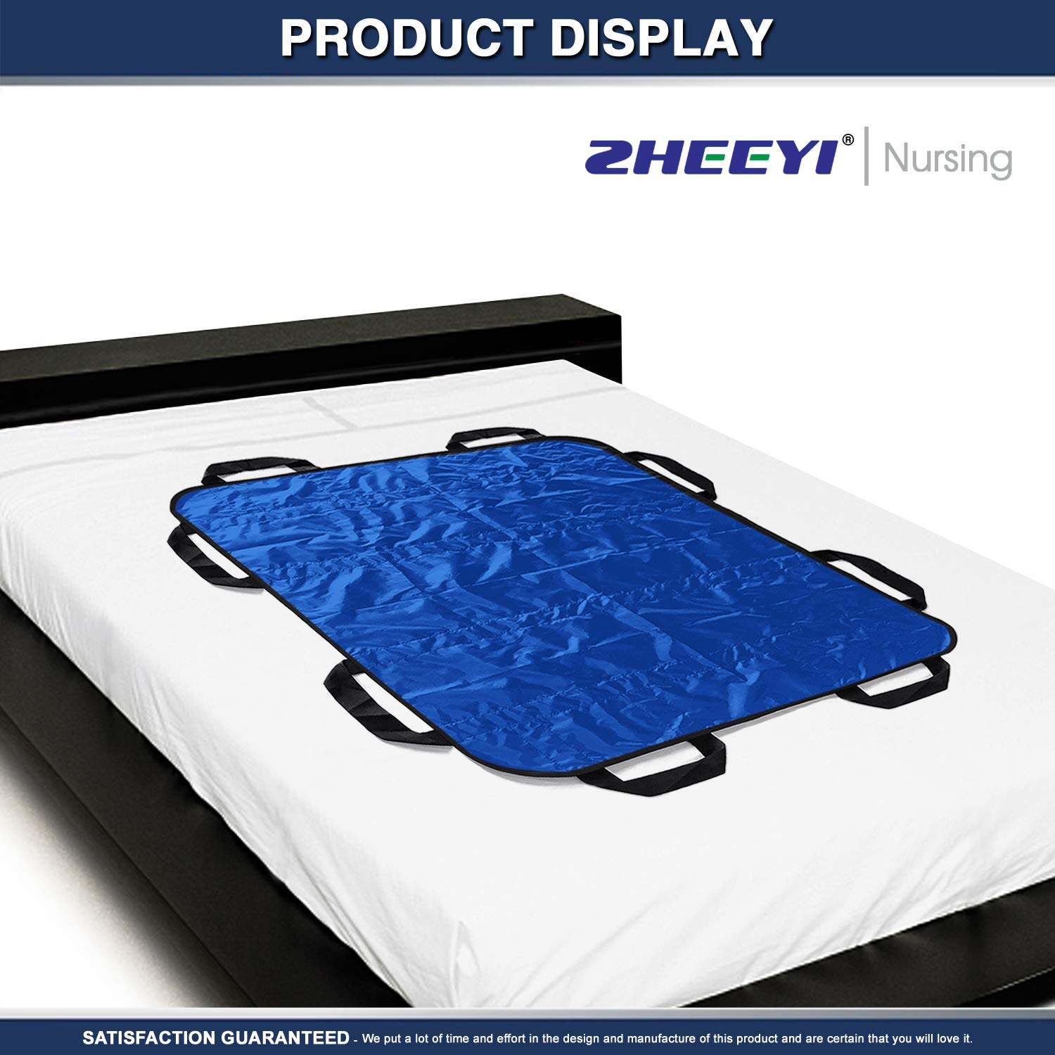 """Multipurpose 48"""" x 40"""" Positioning Bed Pad with Reinforced Handles by ZHEEYI - Reusable & Washable Patient Sheet for Turning, Lifting & Repositioning - Double-Sided Nylon Fabric, Blue by ZHEEYI (Image #2)"""