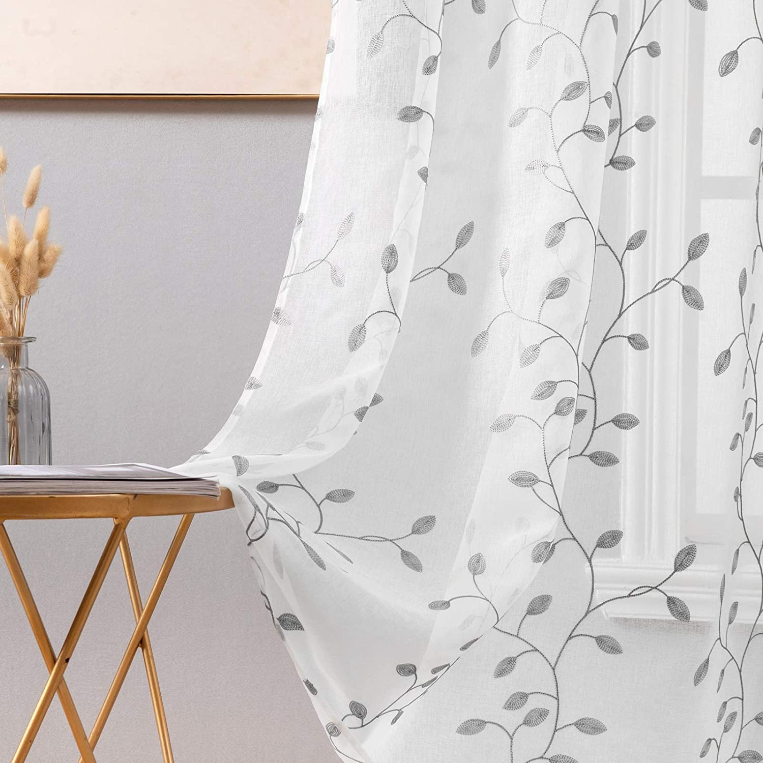 Miulee Decorative Sheer Curtains With Embroidered Leaf Pattern For Living Room Elegant Grommet Embroidery Window Voile Bedroom Drape 2 Panels 54 X 96 Inches Grey Kitchen Dining