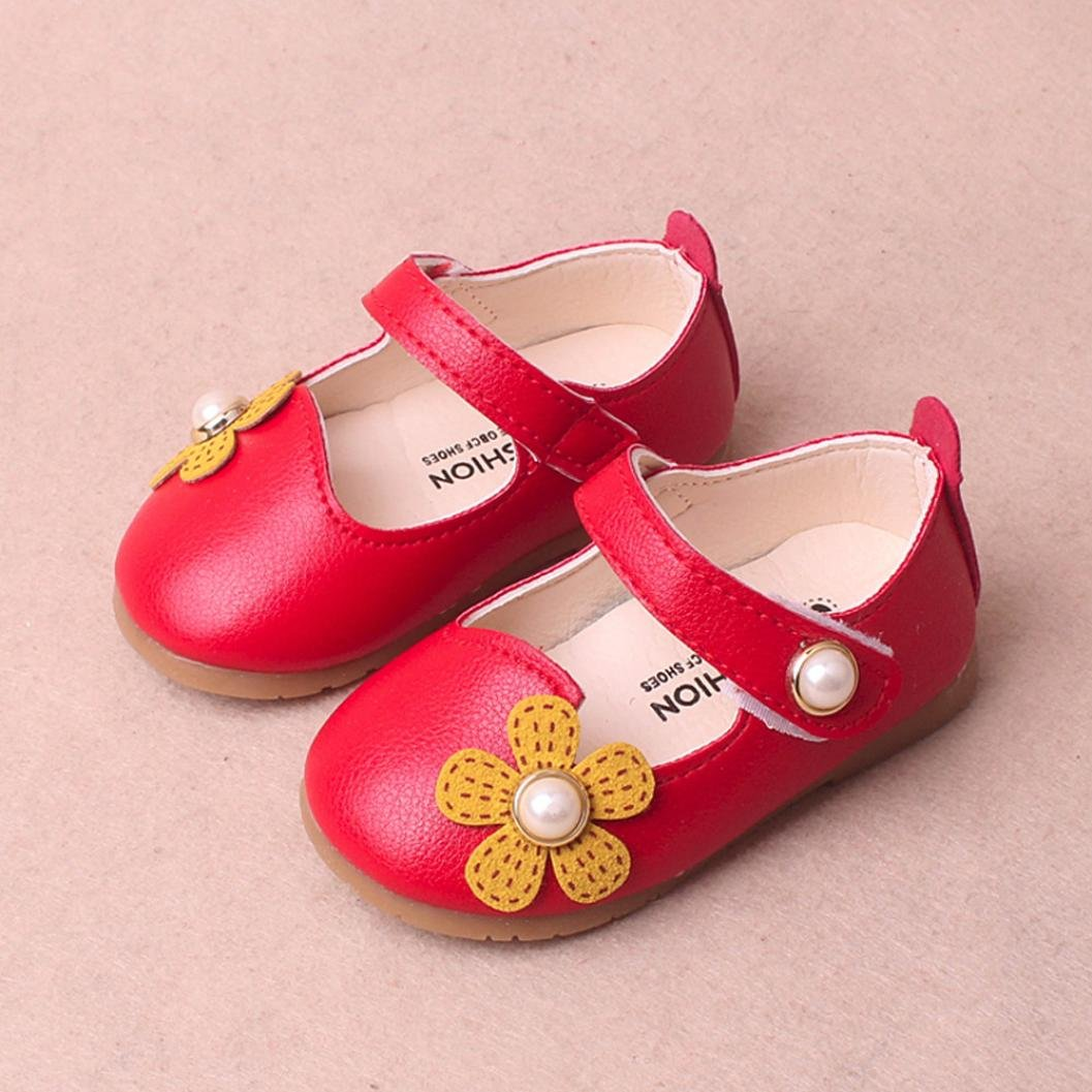 WARMSHOP Lovely Toddler Girls Floral Pearl Decorate Soft Leather Anti-Slip Princess Casual Single Shoes