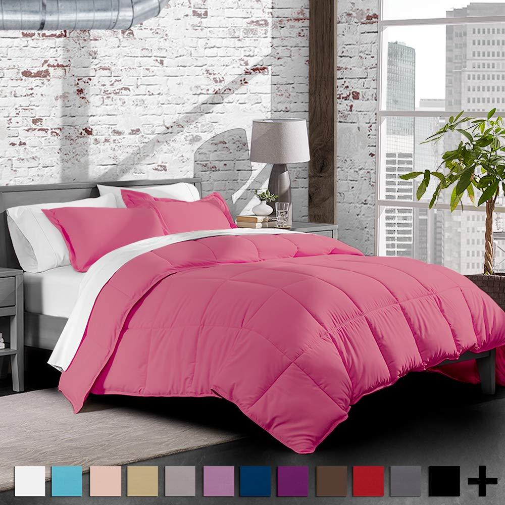 Bare Home Premium Down Alternative Comforter Set - Hypoallergenic - All Season - Plush Siliconized Fiberfill (Twin/Twin XL, Pink)