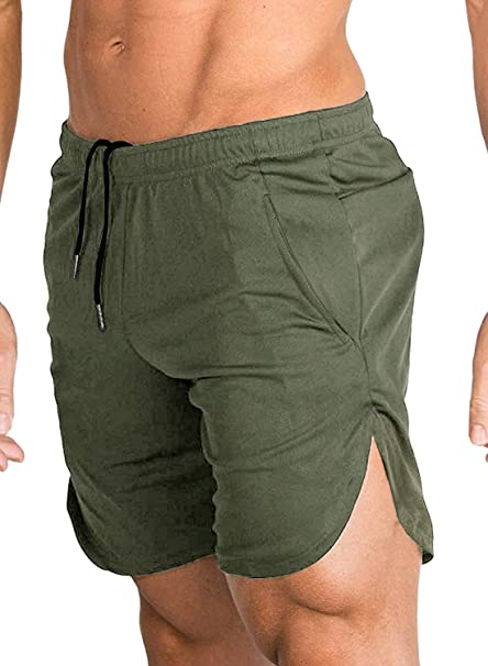 48f7e2e43e COOFANDY Men's Gym Workout Shorts Running Short Pants Training Bodybuilding  Jogger Army Green