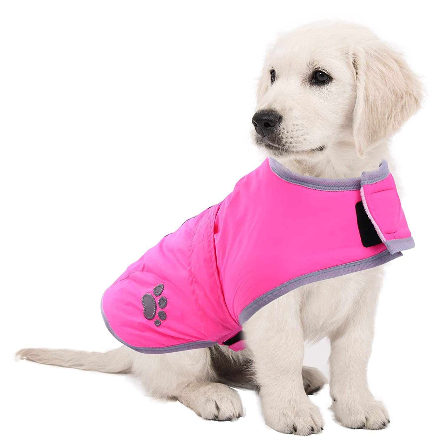 M(Back 11.81'' Neck 11.02'' Chest 16.14'') ASENKU Cold Weather Dog Coat Dog Jacket for Winter Reflective Reversible Warm Fleece Dog Clothes Waterproof Windproof Dog Vest for Small Medium Large Dogs