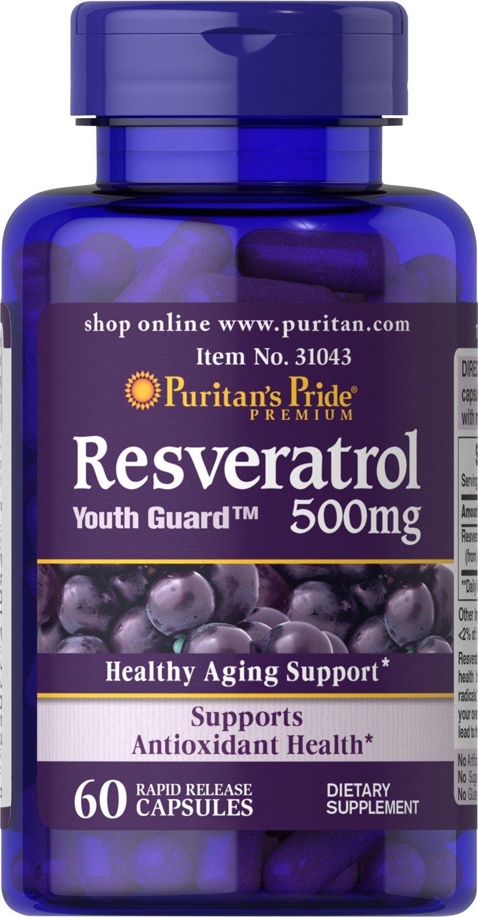 Puritan's Pride Resveratrol 500 mg-60 Capsules by Puritan's Pride