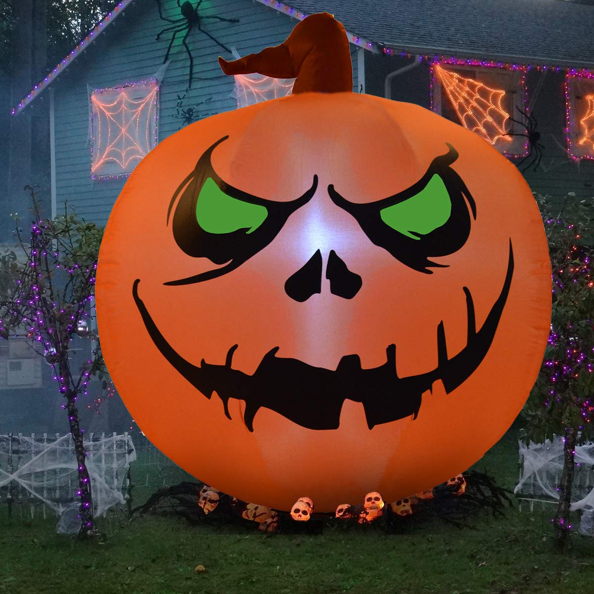 NewAim 4 Foot Halloween Inflatable Air Blown Pumpkin Lighted for Home Yard Garden Indoor and Outdoor Decoration