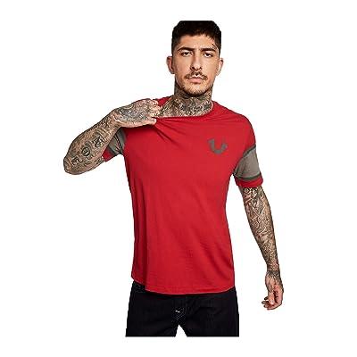 True Religion Men's Contrast Paneled Sleeve Tee T-Shirt: Clothing