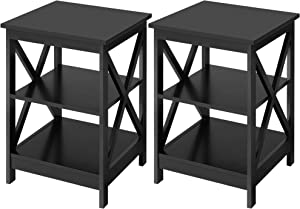 YAHEETECH 3-Tier End Table, X-Design Wooden Sofa Side Table Storage Cabinet, Living Room Bedroom Furniture, Set of 2, Black