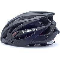 Moon Cycling Bike Helmet 21 Vents Black PC/EPS Protective Ride Helmet Adults Kids One Piece Ultra Light (UL) Adjustable with Googles Sports Helmet (CE Certified)