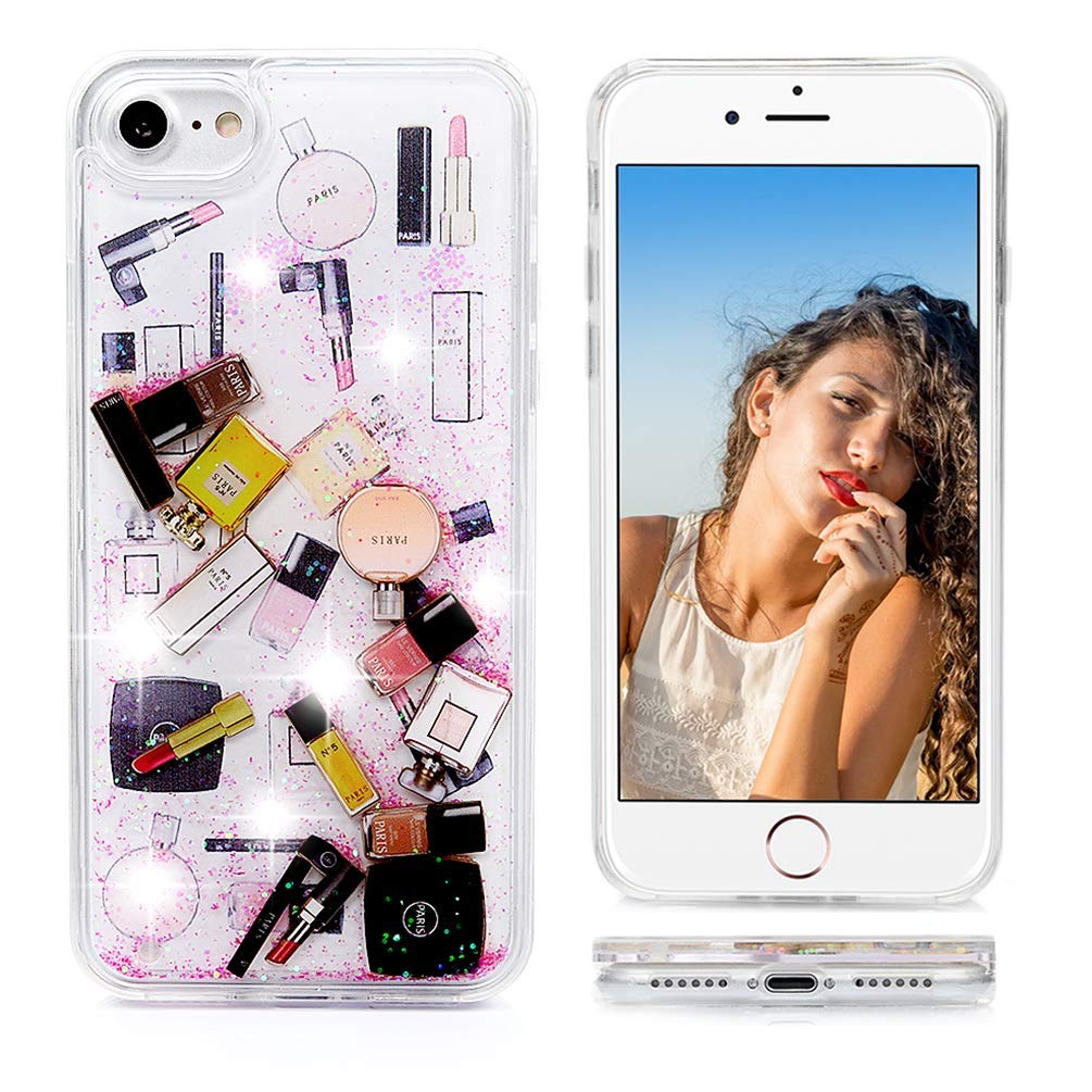 iPhone 8 Case,iPhone 7 Glitter Case, Liquid Floating, Cosmetic Makeup Lipstick Perfume Patterned,Soft TPU Bumper Frame PC Shell, Quicksand Bling iPhone 7 Case for Girls (Hot Pink)