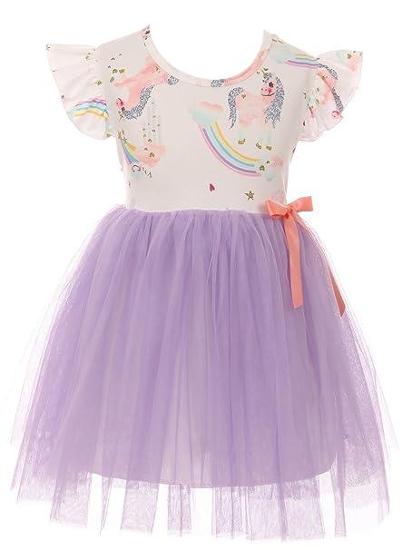 94617f30d1758 Little Girl Dress Kids Cap Sleeve Unicorn Mesh Summer Flower Girl Dress  Purple 2T XS (